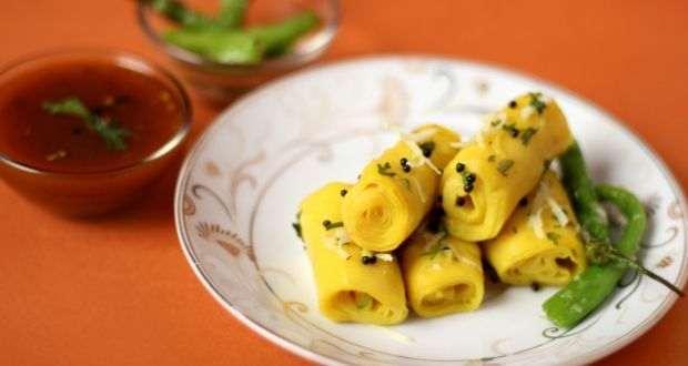 Healthy Indian Snacks Besan Khandvi